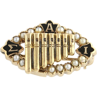 Sigma Alpha Iota Pearl Badge - 14k Yellow Gold Genuine Estate Vintage Music 1935