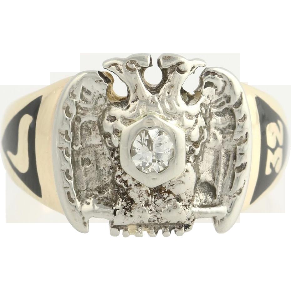 Vintage Scottish Rite Diamond Ring - 10k Yellow & White Gold 32nd Degree Masonic