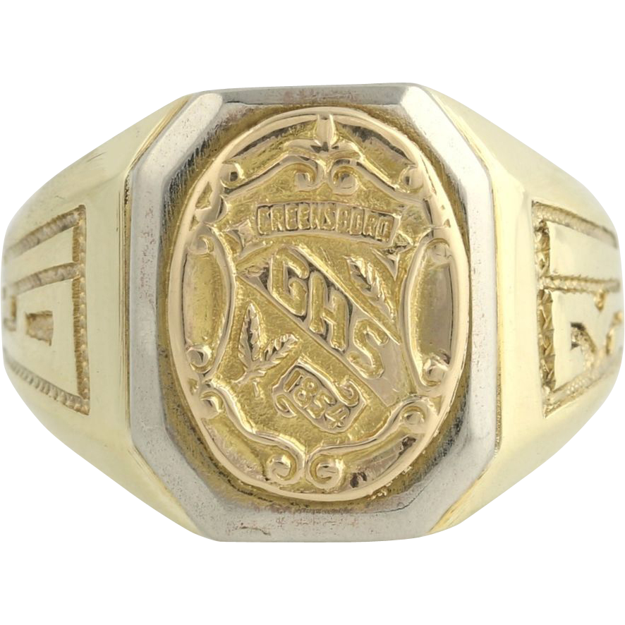 Vintage Grimsley High School Class Ring 1931 - 10k Yellow Gold Greensboro GHS