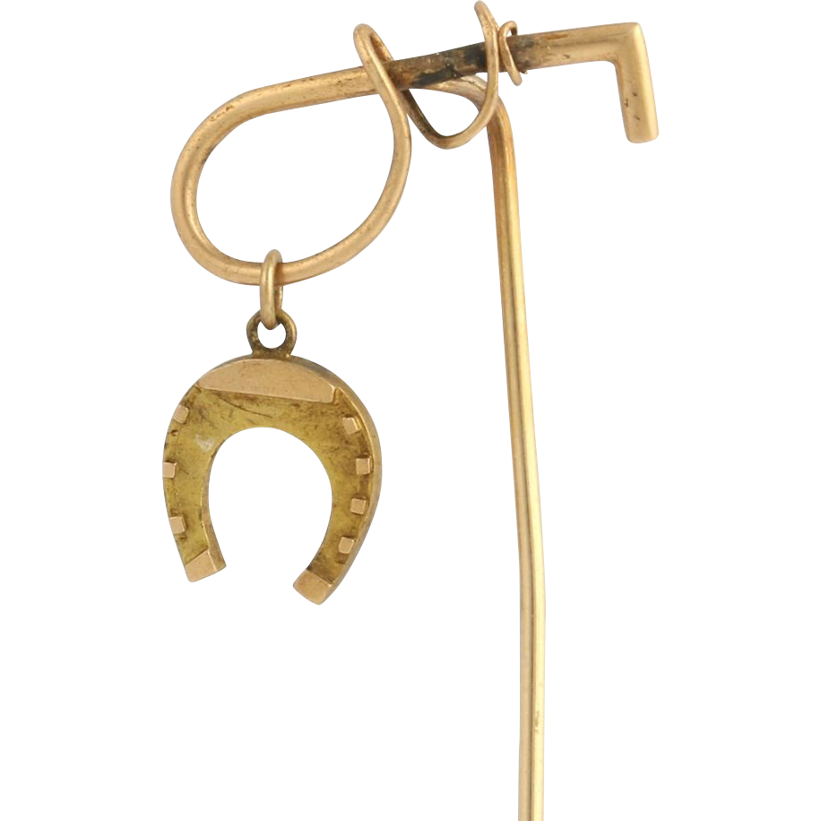 Vintage Crop & Horseshoe Stickpin - 14k Yellow Gold Equestrian Derby