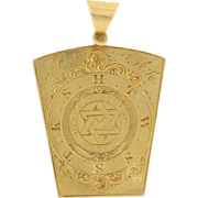 Antique Mark Master Keystone Fob - 18k Yellow Gold York Rite Masonic c.1859