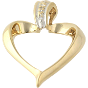 Heart Pendant - 10k Yellow Gold Small Diamond Women's Fine Estate Dangle Love