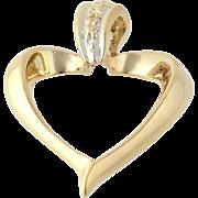 Heart Pendant - 10k Yellow Gold Small Diamond Women's Fine Estate Dangle Love