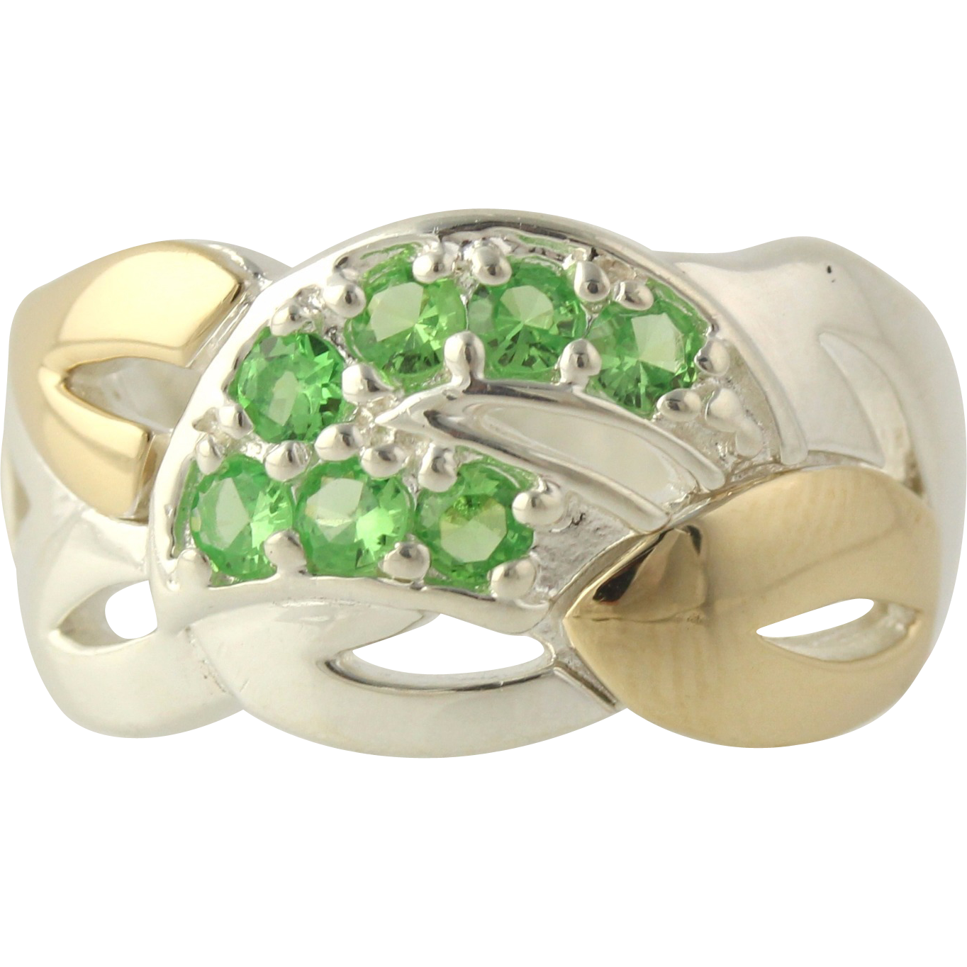Synthetic Green Spinel Cocktail Ring - Sterling Silver & 14k Yellow Gold Women's