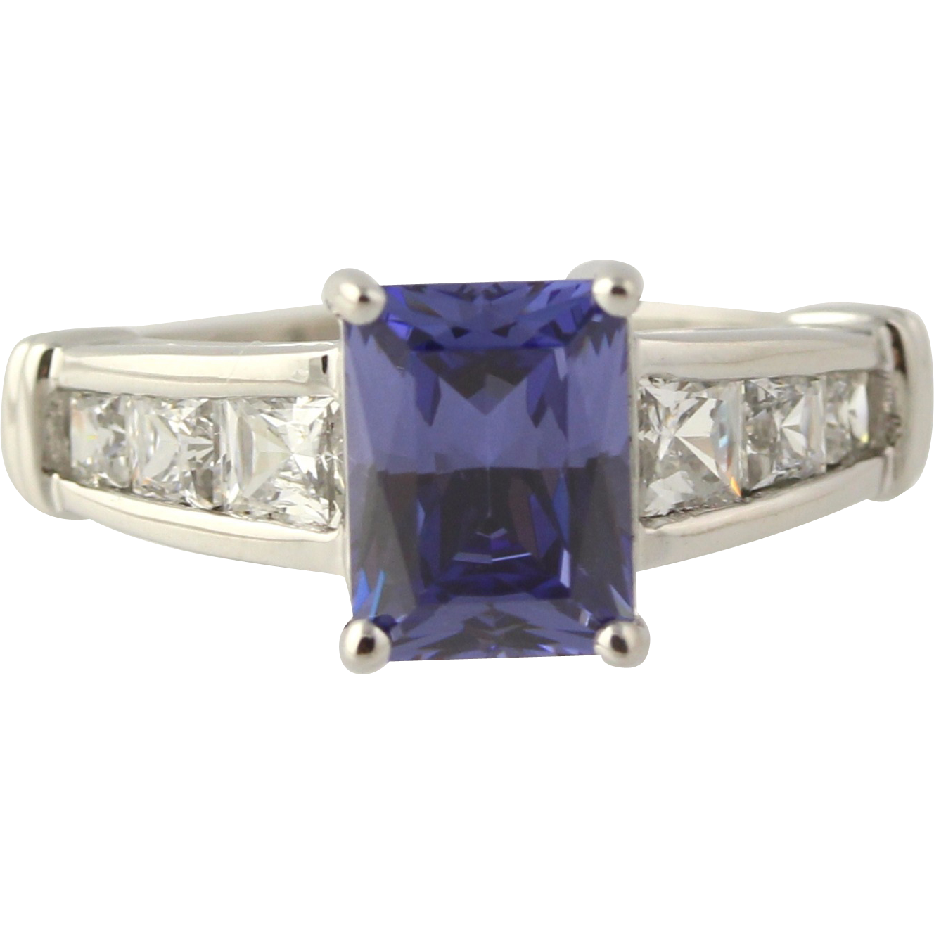 Cubic Zirconia Cocktail Ring-14k White Gold Simulated Tanzanite 5 1/4 Fashion CZ