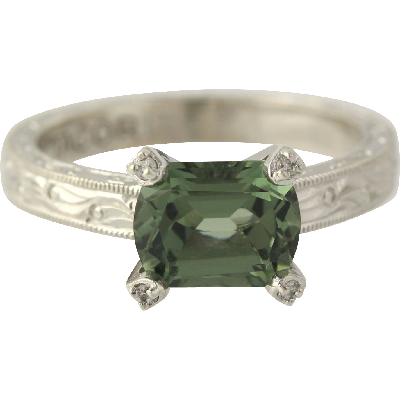 Green Cubic Zirconia Cocktail Ring - Sterling Silver Women's Detail Fine