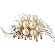Flower Spray Brooch Pendant - Silver Simulated Pearl Vintage Chunky Pin Women's