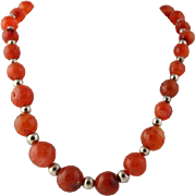 "Vintage Carnelian Beaded Necklace 21 3/4"" - Sterling Silver Box Clasp Chunky"