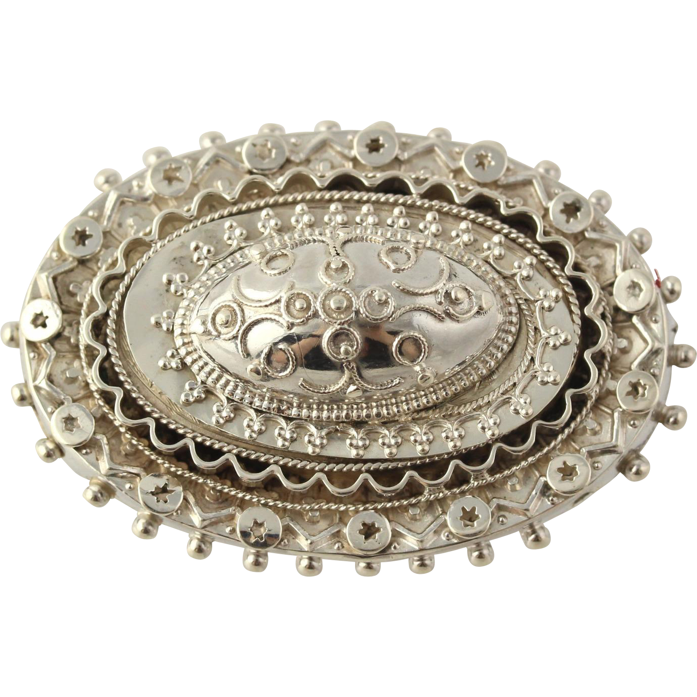 Victorian Era Oval Brooch - Sterling Silver Circa 1885 Chester, England Ornate