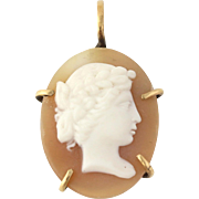 Vintage Carved Shell Cameo Pendant - 14k Yellow Gold Women's Fine Estate Gift