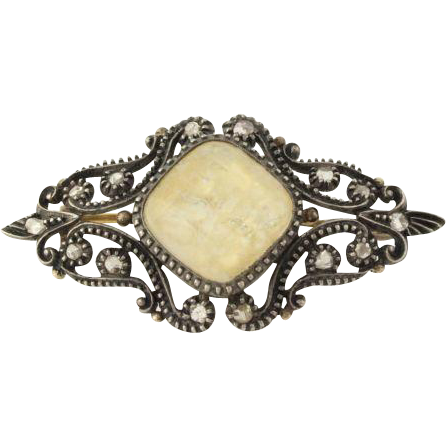 Vintage Georgian Brooch Pin - Sterling Silver & 18k Gold Diamond Quartz c.1840's