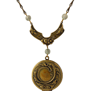 Vintage Pididdly Links Locket Necklace - Floral Drop Pendant Glass Beads Engrave