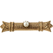 Victorian Bar Brooch - Simulated Pearl Gold Filled Antique Pin Women's Estate