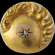 Victorian Celestial Brooch - 10k Yellow Gold Rose Cut Diamond Accent Fine Pin