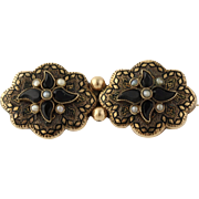 Victorian Onyx, Seed Pearl, & Enamel Brooch - Gold Filled Floral Design Women's