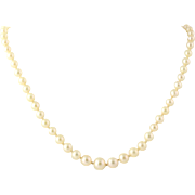 "Vintage Pearl Strand Necklace 14 3/4""- 14k White Gold Clasp Knotted June Gift"