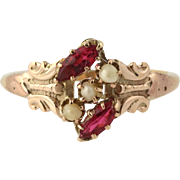 Vintage Glass & Seed Pearl Cocktail Ring - 10k Yellow Gold Women's Size 7 1/4