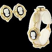Cameo Jewelry Set - Bracelet & Earrings Simulated Stones Women's Black & White
