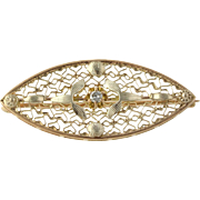 Vintage Diamond Accented Brooch - 10k Yellow Gold Women's Pin Genuine .02ctw