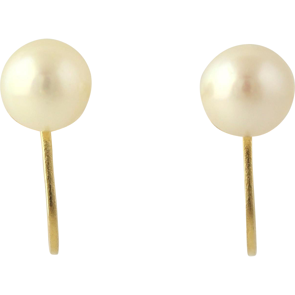 Akoya Pearl Earrings - 14k Yellow Gold 6.3mm Non-Pierced Screw Back Solitaire