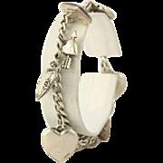 Sterling Heart Charm Bracelet - Sterling Silver Women's Fine Estate 10 Charms