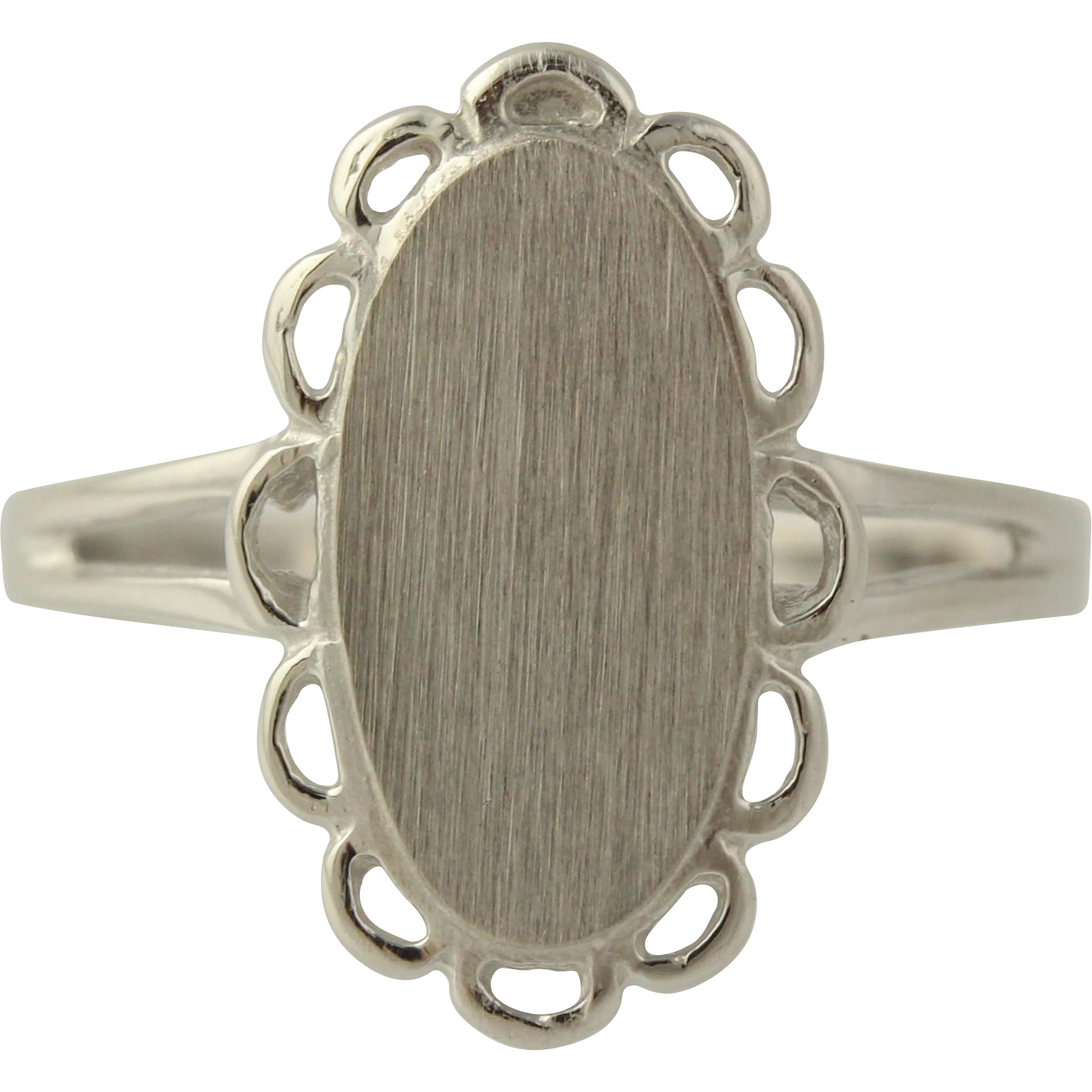 Engravable Cocktail Ring - 10k White Gold Split Shank Women's Fine Estate 5 3/4