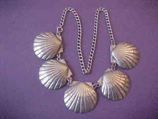 Arts & Crafts Lillian Pines Sterling Silver Scallop Shell Necklace