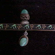 Enamel Purse Frame with Jade-like Stone Cabochons - Red Tag Sale Item