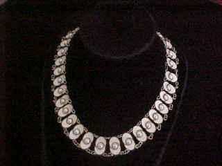 Modernist  Norway Sterling Silver & Enamel Choker Necklace Signed