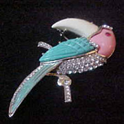 Big Bird Brooch, Hattie Carnegie Unsigned Lucite with Rhinestones