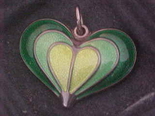 David Andersen Norway Sterling  Silver & Enamel Heart Pendant