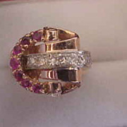 14K Rose Gold Retro Ruby & Diamond Ring