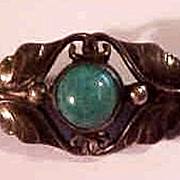 Georg Jensen Sterling Denmark Small  Foliate Brooch  Pin with Agate