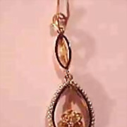 Delicate 10K Rose & Yellow Gold Seed Pearl, Rose Cut Diamond  and Enamel Lavalier Pendant