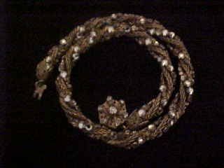 Gorgeous Miriam Haskell Russian Braided Chain with Peridot Rhinestone Necklace