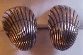 Georg Jensen Denmark Sterling Silver Shell Screw Back Earrings
