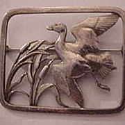 Rare Georg Jensen Sterling Silver Denmark Flying Duck Brooch