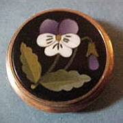 Victorian 10K Rose Gold Pietra Dura Pansy Button