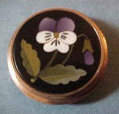 Victorian 10K Rose Gold Pietra Dura Pansy Button