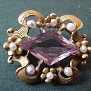 10K Gold  Nouveau Seed Pearl and Pale Lilac Faceted Stone Brooch