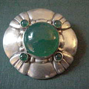 Large Incredible Jensen Sterling Silver Denmark Brooch Pin with Chrysoprase