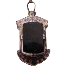 Ornate Victorian 9K Rose Gold Onyx & Sardonyx Fob Locket  with Hair
