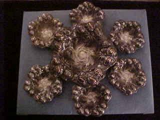 William Kerr Art Nouveau Sterling Silver Repousse Nut Set