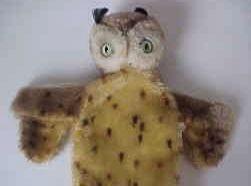 Vintage Steiff Wittie Owl Mohair Puppet