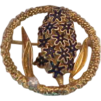 Merrin 18K Yellow Gold, enamel and Diamond Wisteria Brooch