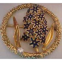 Merrin 18K Yellow Gold, enamel and Diamond Wisteria Brooch
