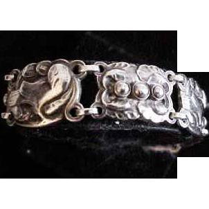 Vintage Georg Jensen Sterling Denmark Sterling Bird Bracelet  #24