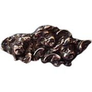 Art Nouveau Unger Brothers Sterling Silver Cherub Watch Pin