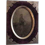 Civil War African American Union Soldier  Photo in original Silverplate  Accented Frame