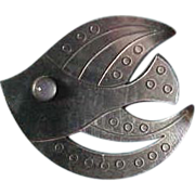 Vintage Hugo Grun Denmark Sterling Silver Fish Brooch with Moonstone